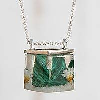 Malachite pendant necklace, 'Complex Cube' - Malachite and Natural Flower Pendant Necklace from Brazil