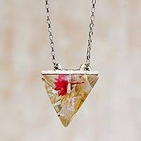 Rutile quartz pendant necklace, 'Complex Pyramid' - Rutile Quartz and Natural Flower Pendant Necklace
