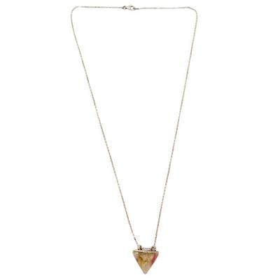 Rutile Quartz and Natural Flower Pendant Necklace