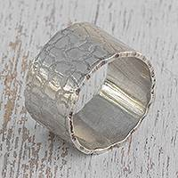 Silver band ring, 'Elegant Craquelure' - Combination Finish Silver Band Ring from Brazil