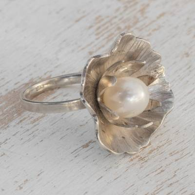 Cultured pearl cocktail ring, 'Cradled Pearl' - Floral Cultured Pearl Cocktail Ring from Brazil