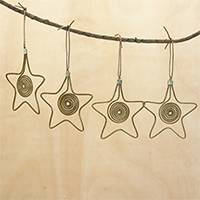 Golden grass ornaments, 'Starry Gleam' (set of 4) - Golden Grass and Gold Plated Brass Star Ornaments (Set of 4)