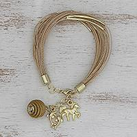 Gold plated golden grass charm bracelet, 'Romantic Nature' - Gold Plated Golden Grass Charm Bracelet from Brazil