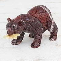Magnesite sculpture, 'American Grizzly Bear' - Hand-Carved Magnesite Bear Sculpture from Brazil