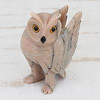 Dolomite sculpture, 'Desert Owl' - Hand-Carved Pink Dolomite Owl Sculpture from Brazil