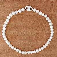 Cultured pearl beaded necklace, 'Glowing Elegance' - Cultured Pearl Beaded Necklace from Brazil