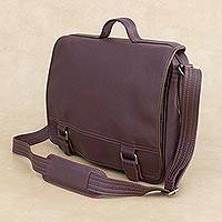 Leather laptop bag, 'Universal in Maroon' (single) - Handmade Leather Laptop Bag in Maroon from Brazil (Single)