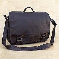 Leather laptop bag, 'Universal in Espresso' (single) - Handmade Leather Laptop Bag in Espresso from Brazil (Single)