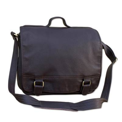 Handmade Leather Laptop Bag in Espresso from Brazil (Single)