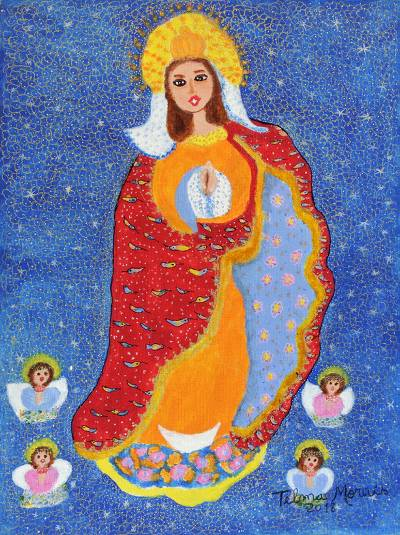 Signed Folk Art Painting of Mother Mary from Brazil