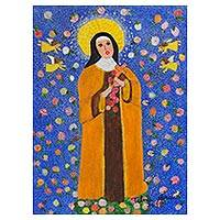 'Saint Therese of Roses' - Signed Naif Painting of Saint Therese from Brazil