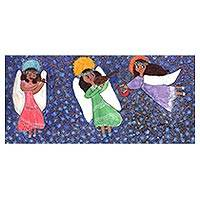 'Serenade in the Stars' - Signed Painting of Three Angels from Brazil