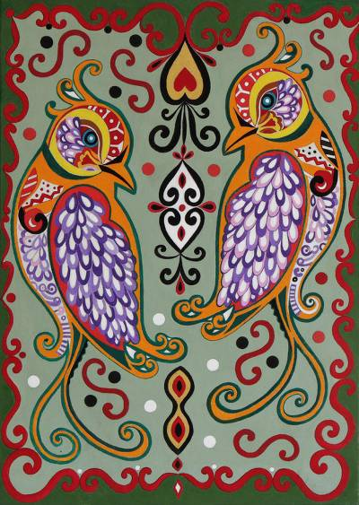 Signed Folk Art Peacock Painting from Brazil