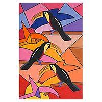 'Trio of Toucans' - Signed Modern Toucan Painting from Brazil