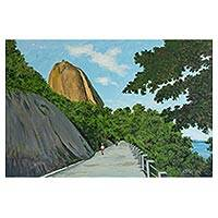 'Cláudio Coutinho Road' - Signed Landscape Painting from Brazil