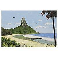 'Conception Beach' - Signed Impressionist Beach Scene Painting from Brazil
