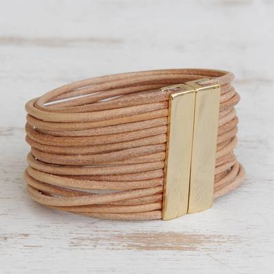 Leather cord bracelet, 'Feminine Cords' - Modern Leather Cord Bracelet in Beige from Brazil
