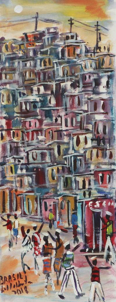 'Rocinha Favela I' - Signed Expressionist Favela Painting from Brazil