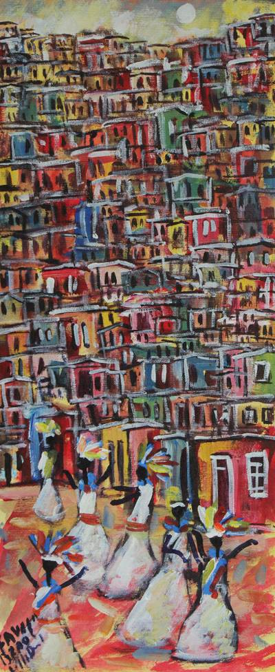'Carnival in the Community' - Signed Painting of a Favela Carnival from Brazil