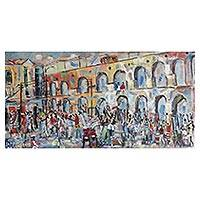 'Party at Carioca Aqueduct' - Signed Impressionist Painting of Carioca Aqueduct