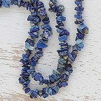 Lapis lazuli beaded long necklace, 'Blue Ridge' - Lapis Lazuli Beaded Long Necklace from Brazil