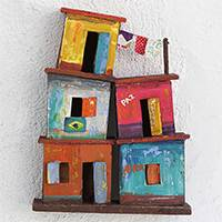 Recycled wood wall sculpture, 'Houses of Love' - Recycled Wood Favela Wall Sculpture from Brazil