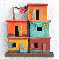 Recycled wood wall sculpture, 'Favela Houses' - Recycled Wood Wall Sculpture of Favela Houses from Brazil