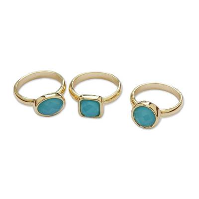 Gold plated agate cocktail rings, 'Skyward Trio' (set of 3) - 18k Gold Plated Agate Cocktail Rings from Brazil (Set of 3)