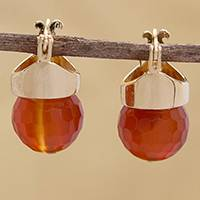 Gold plated agate drop earrings, 'Fiery Acorn' - 18k Gold Plated Agate Drop Earrings from Brazil