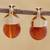 Gold plated agate drop earrings, 'Fiery Acorn' - 18k Gold Plated Agate Drop Earrings from Brazil thumbail