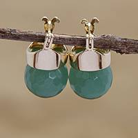 Gold plated quartz drop earrings, 'Forest Acorn' - 18k Gold Plated Green Quartz Drop Earrings from Brazil