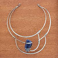 Sodalite collar necklace, 'Regal Ocean' - Sodalite Collar Pendant Necklace from Brazil