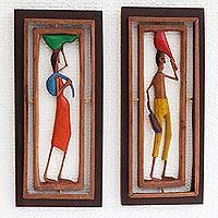 Wood relief panels, 'Northeastern I' (pair) - Handcrafted Wood Relief Panels of Brazilian Workers (Pair)