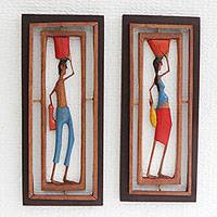 Wood relief panels, 'Northeastern II' (pair) - Hand-Carved Wood Relief Panels of Workers from Brazil (Pair)