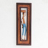 Wood relief panel, 'Man from the Northeast' - Hand-Carved Wood Relief Panel of a Brazilian Working Man
