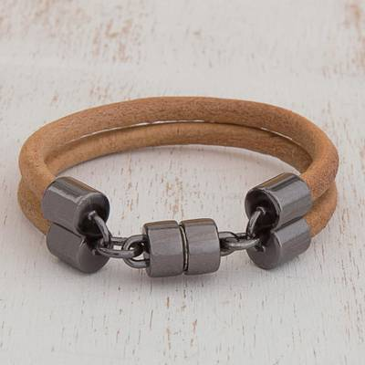 Leather wristband bracelet, 'Forged' - Double Band Light Brown Leather Unisex Wristband Bracelet