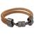 Leather wristband bracelet, 'Forged' - Double Band Light Brown Leather Unisex Wristband Bracelet (image 2a) thumbail