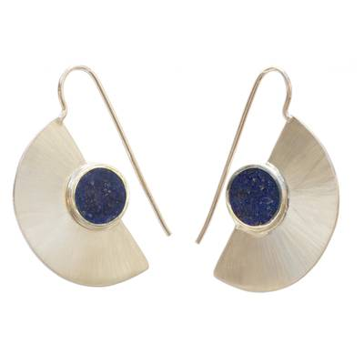 Semicircle Lapis Lazuli Drop Earrings from Brazil