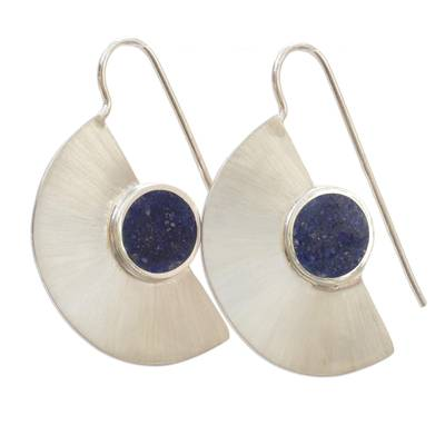 Lapis lazuli drop earrings, 'Half Blade' - Semicircle Lapis Lazuli Drop Earrings from Brazil