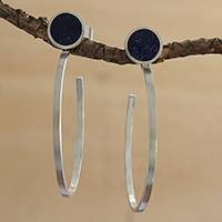 Lapis lazuli half-hoop earrings, 'Modern Swoop' - Modern Lapis Lazuli Half-Hoop Earrings from Brazil