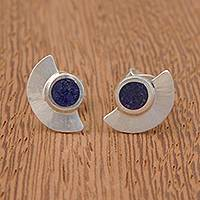 Lapis lazuli button earrings, 'Half Blade' - Semicircle Lapis Lazuli Button Earrings from Brazil