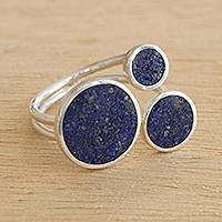 Lapis lazuli cocktail ring, 'Bubble Glitter' - Lapis Lazuli Cocktail Wrap Ring from Brazil