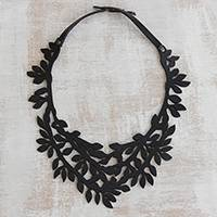 Leather collar necklace, 'Brazilian Foliage in Black' - Leaf Motif Leather Collar Necklace in Black from Brazil
