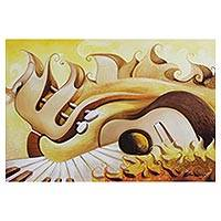 'Sun Scale Series V' - Signed Surrealist Painting of a Guitar and Piano from Brazil