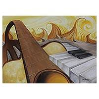 'Sun Scale Series VI' - Guitar and Piano Surrealist Painting from Brazil