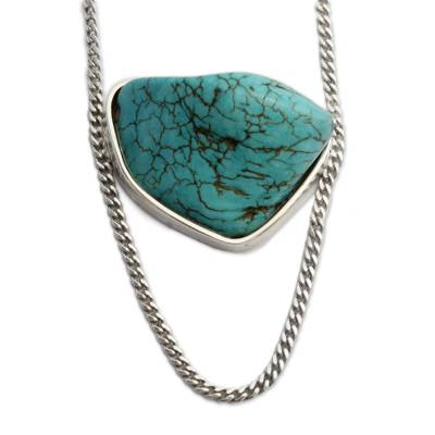 Sterling Silver and Freeform Recon. Turquoise Necklace
