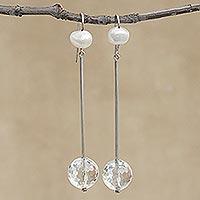 Quartz and cultured pearl dangle earrings,