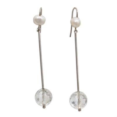 Clear Quartz and Cultured Pearl Dangle Earrings from brazil
