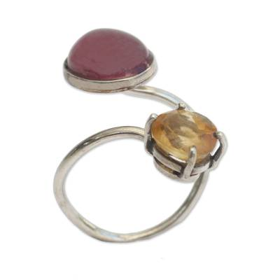 Citrine and Tourmaline Wrap Ring from Brazil