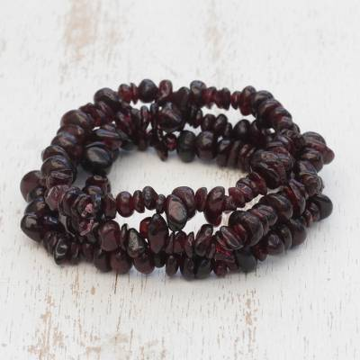 Garnet beaded stretch bracelets, 'Garnet Fascination' (set of 3) - Set of Three Garnet Beaded Stretch Bracelets from Brazil